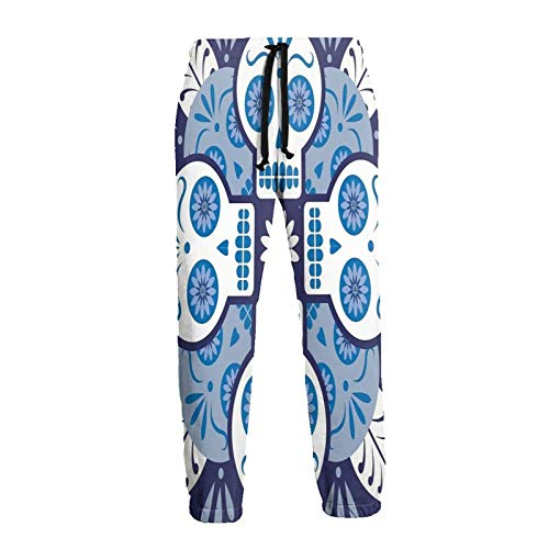 Inaayayi Calavera española mexicana Talavera Azulejos Hombres Mujeres Casual Deporte Jogger Pantalones Pantalones de Chándal Impresión 3D Pantalones holgados con Cordón