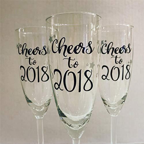 Cheers to 2020 - Juego de 2 copas de champán de Año Nuevo Fiesta de Año Nuevo Celebración Celebración Personalizada Duradera Grabado Láser Novedad Copas de vino