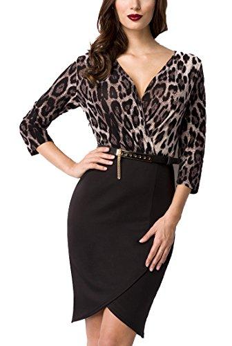 Unbekannt Schwarzes kurzes Abendkleid in Leopard Print mit asymmetrischer Saum V-Ausschnitt mit...