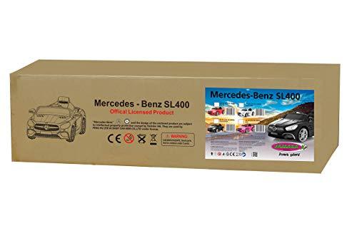 RC Auto kaufen Kinderauto Bild 3: Jamara 460438 Ride-on Mercedes-Benz SL 400 12V – 2 Leistungsstarke Antriebsmotoren und Akku für Lange Fahrzeit, Micro-SD-Slot, AUX-/USB-Anschluss, LED-Scheinwerfer, Ultra-Grip Gummiring, weiß*