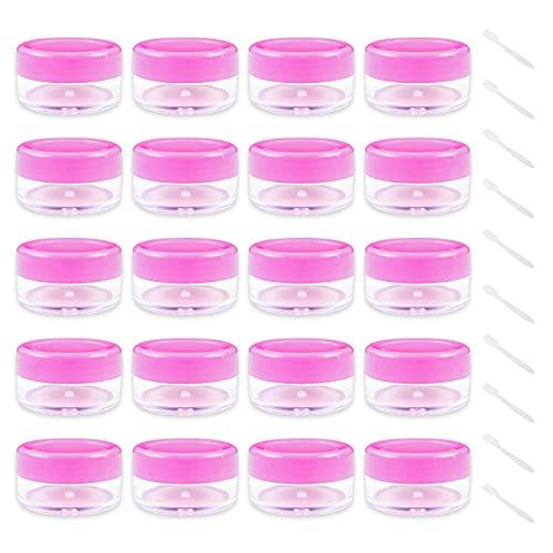 Vacío Plástico Transparente Contenedor de Cosméticos Tarros - 20 Piezas Tarros de Crema 10g / 10ml Puede Olla cosmética - con 10 Piezas Mini Espátula (Rosa) Tarro vacío Crema de Viaje con Tapa para