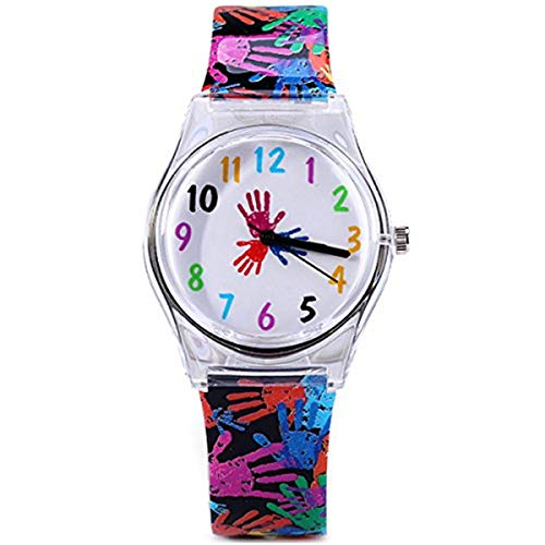 ELEOPTION Watches for Girls Teens Lovely Analog Quartz Silicone Wrist Watches Waterproof Causal Style with Comfortable Resin Band for Girls Young Students Gifts (Colorful-Gyan Mudra)