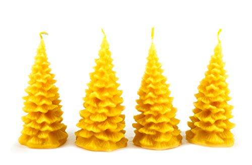 Naturra 100% Bienenwachskerzen-Set Tannenbäume handgegossen (4-teilig)