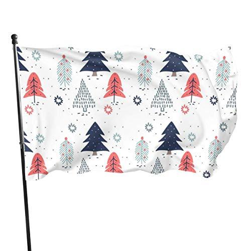 LL-Shop Modèle d'arbres de Noël dessinés à la Main de Vecteur Fly Breeze 3 x 5 Pied Drapeau, Drapeaux de Plage résistants à la décoloration avec en-tête et œillets en Laiton