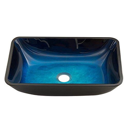 VIGO VG07068 18.125' -13.0' W -4.125' H Turquoise Water Handmade Countertop Glass Rectangular Vessel Bathroom Sink in Turquoise Finish