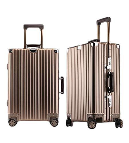 アルミ製スーツケース 全金属トランク アルミ合金ボディ 旅行用品 TSAロック搭載 機内持ち込み キャリーバッグ キャリーケース小型 全6色 ishine02 (ブラウン, 24インチ)