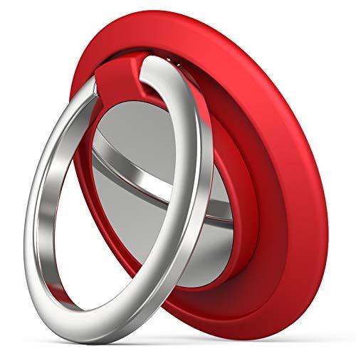 Phone Ring Holder Finger Kickstand, Cell Phone Ring Holder Finger Grip 360 Degree Rotation (Red)