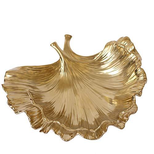 NBCDY Goldene Keramikplatte, modische Blattform Ablageschale, Lebensmittelqualität Lackbeschichtung, Obstschale Teller für Veranstalter Schmuck Ring Halskette