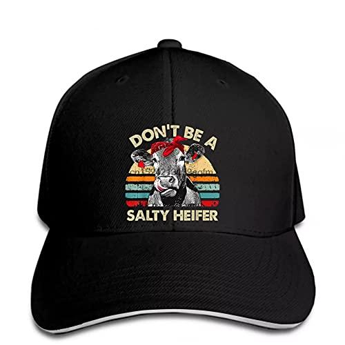 Gorra de béisbol Salty Heifer Vacas Amante Regalo Vintage Granja Ganado Humorístico Snapback Sombrero de Sol pico Sombrero de Polo Estilo Regalo