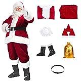 Santa Suit Christmas Santa Claus Costume for Men Women Adult Costume Santa 10 pc Outfit (Maroon)