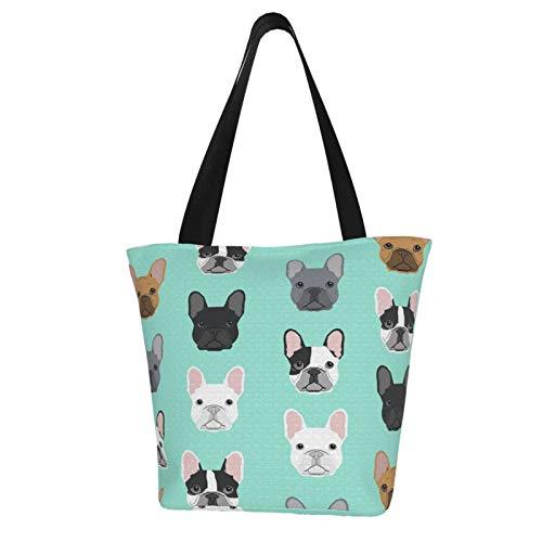 antcreptson French Bulldog Sweet Dog Puppy Puppies Dog Canvas Tote Bag Women Shoulder Bag Handbags Shopping Bag Gift Bag for Party