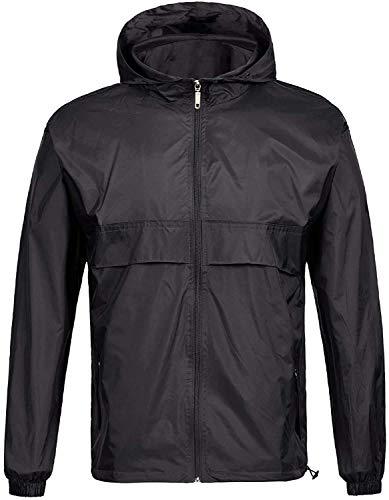GEEK LIGHTING Men's Waterproof Hooded Rain Jacket, Lightweight Packable Raincoat for Outdoor, Camping, Travel ( A-black(rain Jacket), X-Large )