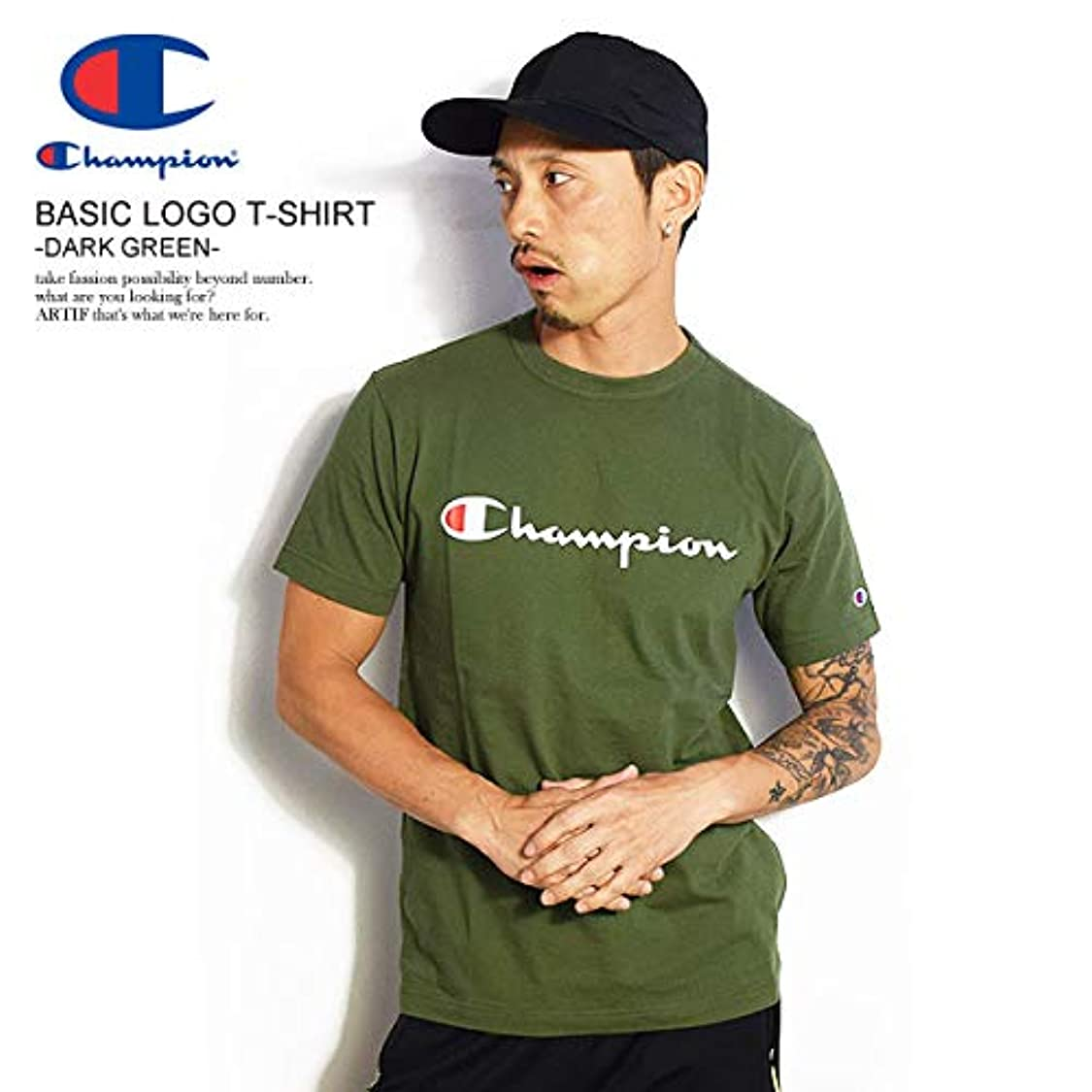 シールリラックスした乳白色(チャンピオン)CHAMPION BASIC LOGO T-SHIRT -DARK GREEN- c3-p302