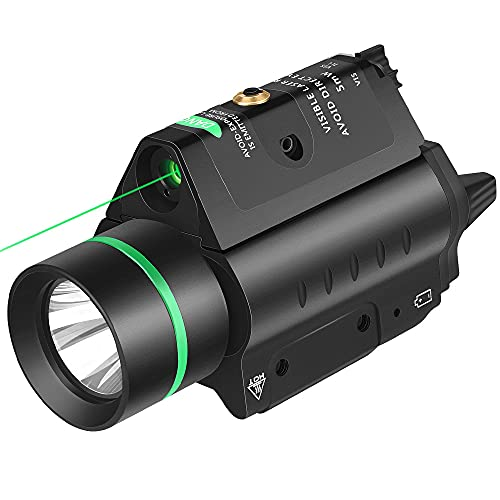 EZshoot 20mm Pistol Green Laser Light Combo, 200 Lumen Laser Handgun Light for Picatinny Rail, Tactical Weapon Light with Green Beam, 3 Modes Flashlight Laser Sight for Pistol Handgun Shotgun, Green