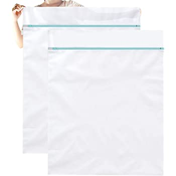 OTraki Large Washing Machine Bag 2 Pack 43 x 35 inch XL Mesh Laundry Bags Heavy Duty Zipper Big Dryer Wash Net for Delicates Bedding Blanket Pet Bed Camp Travel Dorm Jumbo Netted Organizer White