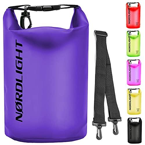 Nordlight Sac étanche 10L - (Violet) Sac pour téléphone Portable et Sac à Documents pour la Plage, Le canoë, Le Stand up Paddle, la plongée.