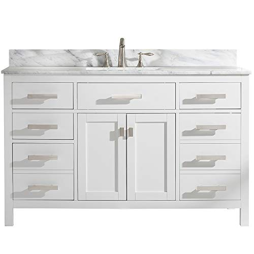 """LUCA Kitchen & Bath LC54PWW Tuscan 54"""" Single Bathroom Vanity Set in Pure White with Carrara Marble Top and Sink"""