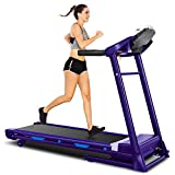 ANCHEER 2 in1 Folding Treadmill, Smart 2.25 HP Under Desk Treadmill, Electric Walking Running Machine with Bluetooth Audio Speakers, Upgraded Smart Top Folding Treadmill (Blue)