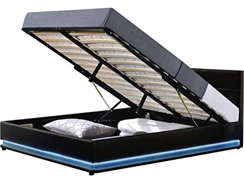 habitatetjardin Cama con LED Anastasia- 140 x 190 cm - Negro