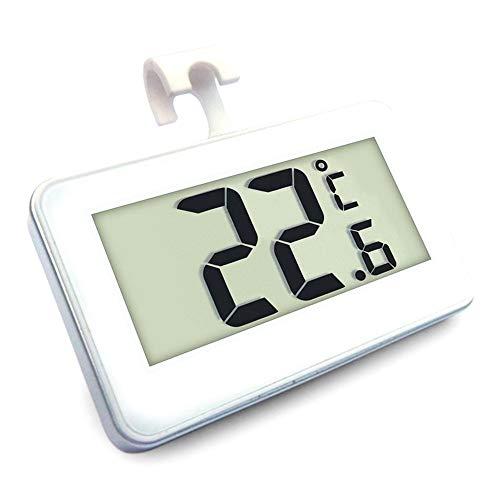 Nevera Termómetro Digital Resistente Al Agua Temperatura Monitor Inalámbrico Frigorífico Congelador De -20 a 60 Grados (-4 a 140 ° F) con Gancho Gran Pantalla LCD Grande para La Cubierta Blanca Al
