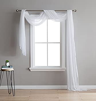 DecoSource - Semi-Sheer Window Scarf  54 x 144 iches  - Add to Window Curtains for Enhanced Effect Scarf  1 Scarf 54  x 144  White