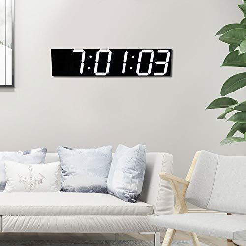 Oyunngs LED Digital Wanduhr, Fernbedienung 6-stellige große Wanduhr Haushalt Elektronische Uhr für Office Zuhause Hotel Großer Raum(Weiß)