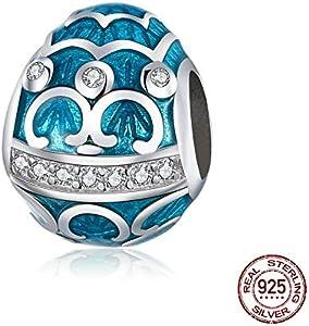 MZNSQB Encanto de Esmalte de Huevo Azul de Serie de Pascua para Pulsera de Plata Original y Brazalete de Plata de Ley 925 Pulsera de joyería de Bricolaje