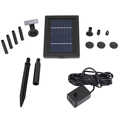 Sunnydaze 1.3W Solar Pump and Panel Outdoor Fountain Kit With 5 Spray Heads, 40 GPH, 24-Inch Lift