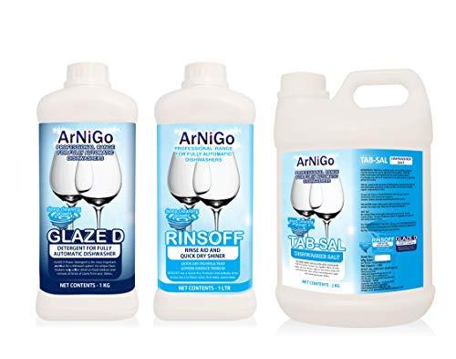 Arnigo Dishwasher Set Combo of Detergent (1Kg) + Rinse Aid (1L) + Salt (2Kg)