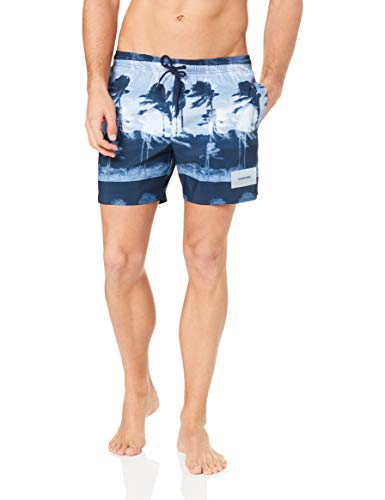 CALVIN KLEIN Men - Printed blue swim shorts - Size XL