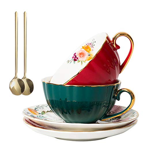 Coffee Tea Cups,Porcelain Espresso Cups Set of 2,(8 oz)with Gold Trim and Gift Box,Tea Cups and Saucers Spoon,European Luxury Couple Coffee Cup Set,China Porcelain Tea Set(Crimson+Dark Green)