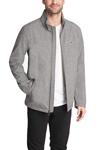 Tommy Hilfiger Men's Water Resistant Softshell Jacket (Standard and Big & Tall), Heather Grey, Large