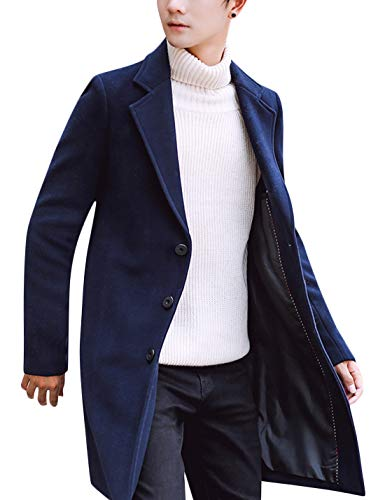 Springrain Men's Notched Lapel Single breasted Long Pea Coat Trench Coat (Navy, X-Large)