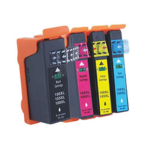 Cartuchos de tinta 105 108XL, repuesto para impresoras Lexmark S708 S208 S408 S205 S305 308 S405 S505 S508 S605 de alto rendimiento de inyección de tinta de 4 colores combinados