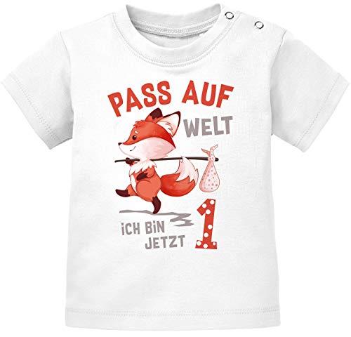 MoonWorks® Baby T-Shirt 1. Geburtstag Pass auf Welt ich Bin jetzt 1 Fuchs Geburtstagsshirt Kurzarm Bio-Baumwolle 1 weiß 80/86 (10-15 Monate)