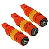 Emergency Zone 5 in 1 Survival Whistle. Compass, Whistle, Water-Resistant Container, Signal Mirror, Ferro Rod. Available in 1, 3, 30, and 300 Pack. (3)