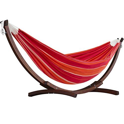 Hamaca colgante con soporte de madera para exteriores