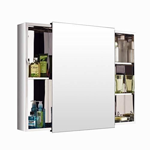 Spiegelschränke Bad Edelstahlspiegelschrank Wand-Schiebetür Kosmetikspiegel Bad Square Schließfach (Color : Silver, Size : 80 * 60 * 13cm)