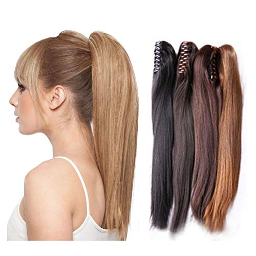 RemeeHi Extensions de cheveux longs raides en queue de cheval à clipser pour filles et femmes 45,7 cm 105 g 14# Blond foncé doré