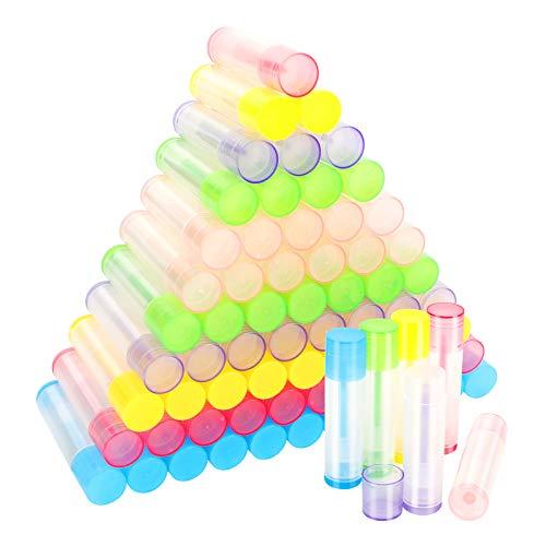 72Pcs Tubo de Lápiz Labial, Transparente Contenedor de Bálsamo Labial de 5 Ml, Envases de Labios Plásticos, Recipientes Vacíos para DIY Bálsamo Labial( 6 Colores)