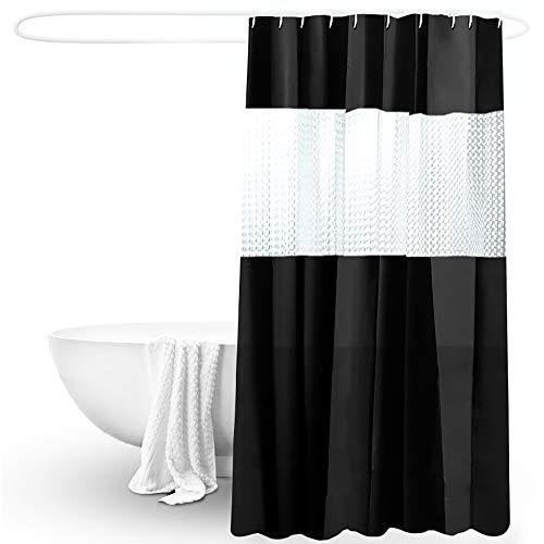 Encozy Duschvorhang, Wasserdicht, Schimmelresistent, Waschbar, 180 x 200 cm, mit 12 Haken (Schwarz)