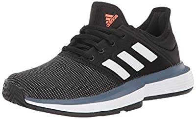 adidas Unisex-Kid's CourtJam Tennis Shoe, Black/White/tech Ink, 1.5 M US Little Kid