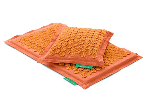 Set - 2 unidades: Pranamat ECO + PranaPillow, La esterilla y la almohada de masaje terapéutico (Naranja/Naranja)