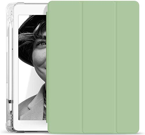 YYLKKB For ipad Pro 9.7 2016 Case A1673 A1674 PU Leather Silicone Smart Cover For ipad 9.7 2018 6th Gen Air 1 2 Case with Pencil Holder-light_green_For_Ipad_air_3_10.5
