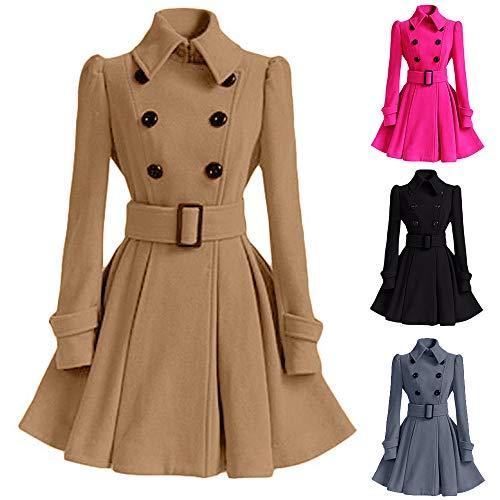 Caopixx Outwear for Women Overcoat Winter Warm Woolen Coat Trench Parka Jacket with Belt