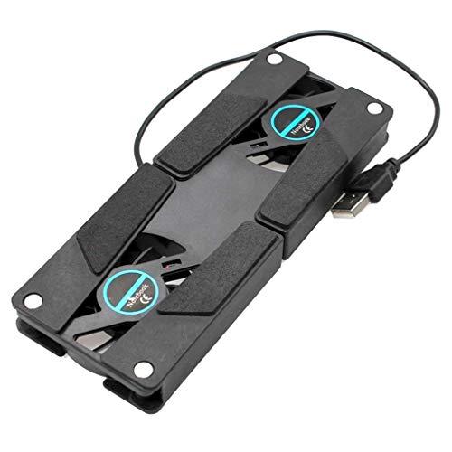 LEVEL GREAT Escritorio portátil Soporte Dual de refrigeración Ventilador de pie Ordenador portátil Plegable del sostenedor del Estante USB Negro