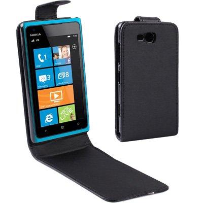 GUODONG Cabina telefonica Custodia in Pelle Flip Verticale for Nokia Lumia 820 (Nera) Cover Posteriore per Smartphone