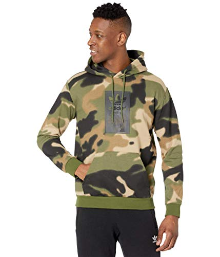 adidas Originals,mens,Camo All Over Print Hoodie,Wild Pine/Multicolor/Black,Small