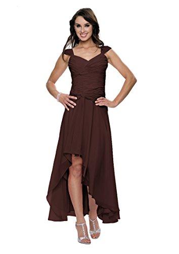 Astrapahl Damen Cocktail Kleid mit schönen Raffungen, Knielang, Einfarbig, Gr. 38, Braun