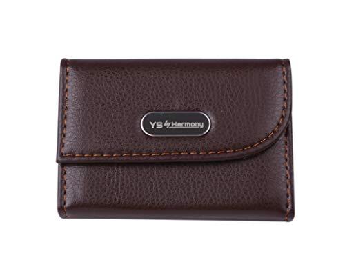 YS・Harmony クレジットカードケース カードホルダー シンプル お財布のお供に スナップボタン開閉 名刺入れ コンパクト 薄型 男女兼用 (Brown)